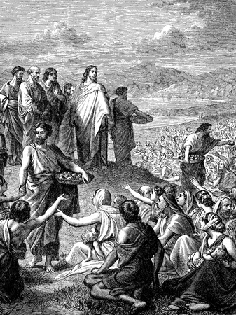 disciples: An engraved vintage illustration image of Jesus Feeding of the Multitude, also known as the Feeding of the Five Thousand of the New Testament Bible from a Victorian book dated 1883 that is no longer in copyright