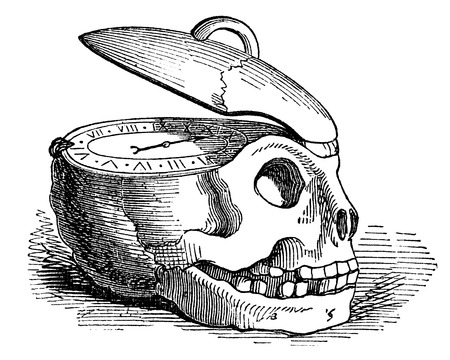 dated: An engraved illustration drawing of a human skull clock watch of the concept of time, from a Victorian book dated 1878 that is no longer in copyright Stock Photo