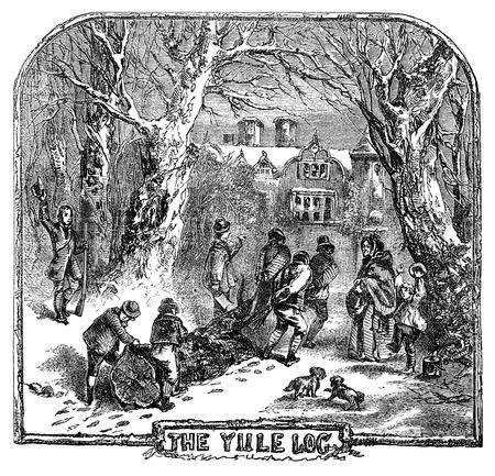 Un dessin illustration gravée de personnes transportant la bûche de Noël pour célébrer la fête de Noël d'un livre victorienne date de 1878 qui ne sont plus en droit d'auteur Banque d'images - 39438994