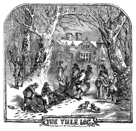 An engraved illustration drawing of people hauling the Yule Log to celebrate the Christmas festival  from a Victorian book dated 1878 that is no longer in copyright Foto de archivo