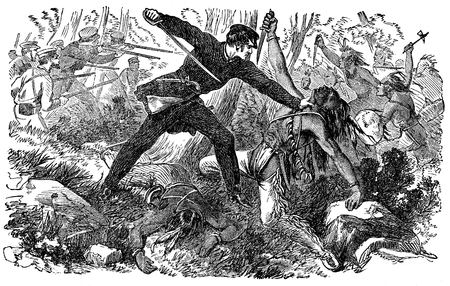 An engraved illustration image of  USA military fighting the native American Red Indians in the America Wild West from a vintage Victorian book dated 1880 that is no longer in copyright Stock Photo
