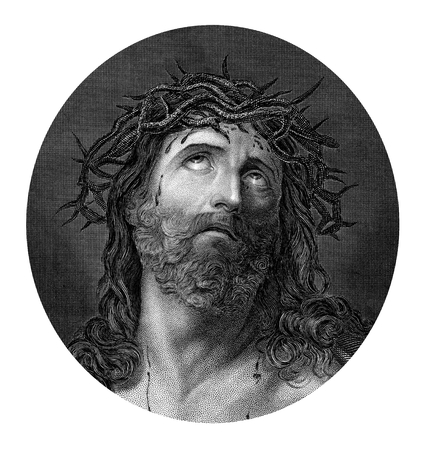 portraits: An engraved illustration drawing portrait of  the Crucifixion of Jesus Christ wearing the crown of thorns from a Bible dated 1852