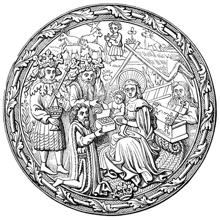 the gospels: An engraved vintage illustration image of the Nativity of Jesus Christ, from a Victorian book dated 1878 that is no longer in copyright Editorial