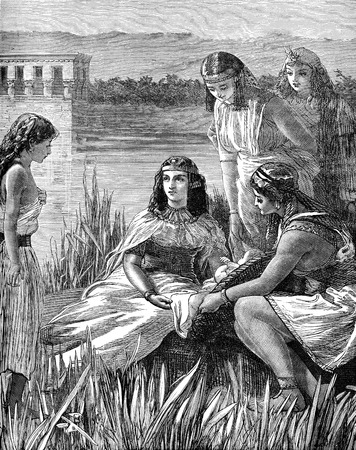 An engraved illustration image of  the child Moses found amongst the bulrushes from a Victorian book dated 1883 that is no longer in copyright