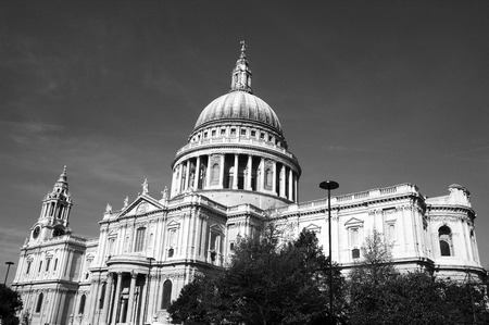 foremost: Black and white image of St Pauls Cathedral in London, England, UK, built after The Great Fire Of London of 1666, is Christopher Wrens masterpiece and one of the foremost tourist attractions in London