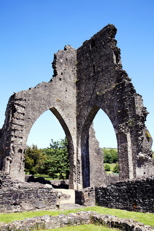 clear sky: The ancient ruin of Talley Abbey, Carmarthenshire, Wales, UK dates back to the late 12th Century, where it was first founded as a monastery by the Premonstratensians White Canons Stock Photo