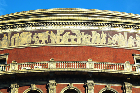 music venue: The frieze of the Royal Albert Hall, Kensington, London, England, UK, built 1867-71 to commemorate the death of Queen Victorias beloved consort Prince Albert. It is the leading classical and opera music venue in The UK and is the home of the Proms Editorial