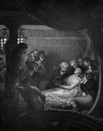 dated: An engraved  vintage illustration image of the death of Admiral Lord Horatio Nelson on HMS Victory after defeating Napoleon Bonaparte at the Battle of Trafalgar in 1805, from a Victorian book dated 1884 that is no longer in copyright