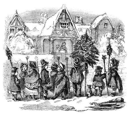 An engraved illustration drawing of children singing Christmas Day morning carols  from a vintage Victorian book dated 1878 that is no longer in copyright
