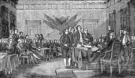 Een gegraveerde afbeelding van de ondertekening van de Verenigde Staten Amerikaanse Onafhankelijkheidsverklaring, uit een Victoriaanse boek gedateerd 1880, dat is niet meer in het auteursrecht