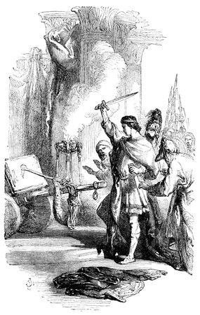 nudos: Una ilustración grabada la imagen de Alejandro Magno cortar el nudo gordiano, de un libro de estilo victoriano vintage con fecha de 1850