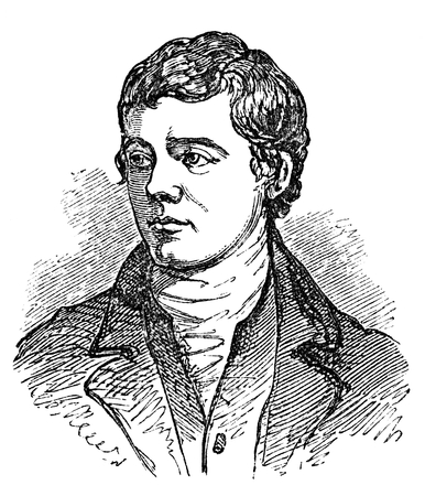 lang: An engraved vintage illustration portrait drawing of Robert Burns, the famous Scottish poet and author of Auld Lang Syne, from a Victorian book dated 1854