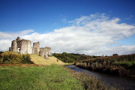 13th century: Kidwelly Castle, Kidwelly, Carmarthenshire, Wales, UK by the River Gwendraeth is a ruin of a 13th century medieval castle