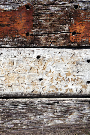 weathered: Old brown weathered distressed wood oak planks background Stock Photo