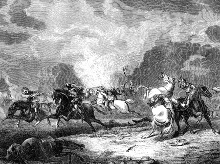 An engraved illustration image of  the Battle of Naseby during the English Civil War, from a Victorian book dated 1868 that is no longer in copyright,