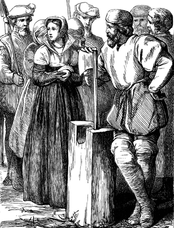 dated: An engraved vintage illustration of the execution of the English queen Lady Jane Grey from a Victorian book dated 1897 that is no longer in copyright