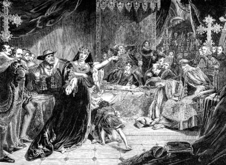 period costume: An engraved vintage illustration image of the trial of Catherine Of Aragon, queen of England, UK, from a Victorian book dated 1868 that is no longer in copyright