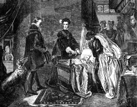 execution: An engraved illustration image of  Mary Queen of Scots leaving Stirling Castle from a Victorian book dated 1868 that is no longer in copyright Stock Photo