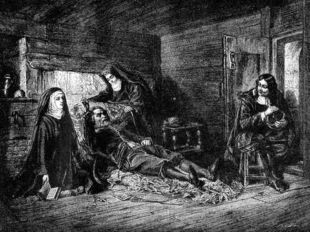 An engraved vintage illustration image of  Milton Visiting Galileo In The Prison Of The Inquisition from a Victorian book dated 1868 that is no longer in copyright