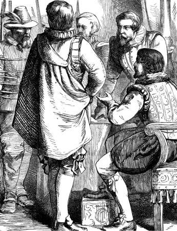 guy fawkes night: Un'illustrazione immagine incisa di Guy Fawkes comparire davanti Giacomo I, dopo il 5 novembre Gunpowder Plot on Bonfire Night da un libro vittoriana del 1868 che non è più in diritto d'autore Archivio Fotografico