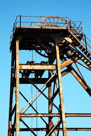 hoist: Hoist wheel used at a coal mine shaft Stock Photo