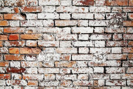 distressed: Old large red brick wall background distressed with white paint Stock Photo