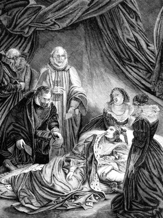 period costume: An engraved vintage illustration image of the death of Elizabeth I, queen of England, UK, from a Victorian book dated 1868 that is no longer in copyright