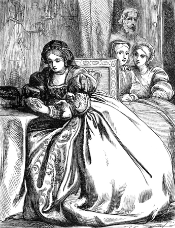 period costume: An engraved vintage illustration image of Anne Boleyn, queen of England, UK, in the Tower of London, from a Victorian book dated 1868 that is no longer in copyright