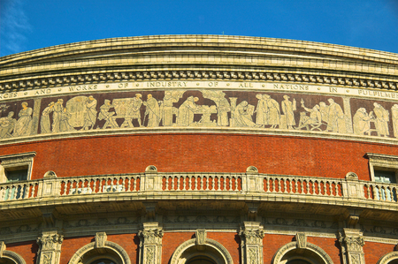 frieze: The frieze of the Royal Albert Hall, Kensington, London, England, UK, built 1867-71 to commemorate the death of Queen Victorias beloved consort Prince Albert. It is the leading classical and opera music venue in The UK and is the home of the Prom Editorial