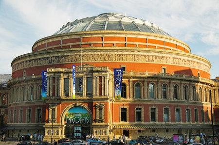 knightsbridge: London, United Kingdom, August 5, 2007 : The Royal Albert Hall, Kensington showing visitors arriving for the proms Editorial