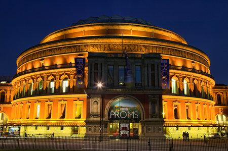 knightsbridge: London, United Kingdom, August 9, 2007 : The Royal Albert Hall, Kensington at night where the Proms are performing Editorial