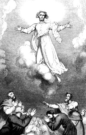 new testament: An engraved illustration image of Jesus Christs resurrection Ascension into Heaven, from a vintage Victorian book dated 1836 that is no longer in copyright