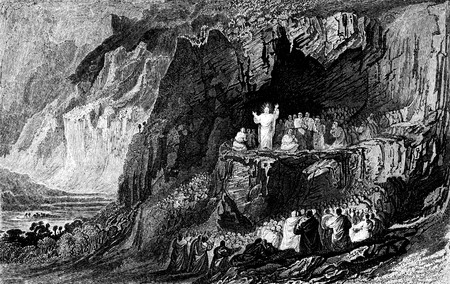 mount: An engraved vintage illustration image of  Jesus at the Sermon on the Mount from a Victorian book dated 1836 that is no longer in copyright Stock Photo