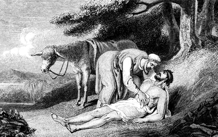 kindness: An engraved vintage illustration image of  the parable of the Good Samaritan, from a Victorian book dated 1836 that is no longer in copyright