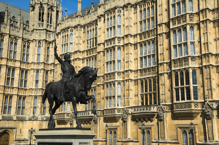 richard: Richard I, Richard the Lionheart statue at the Houses Of Parliament in Westminster, London, England, UK, which was created by Baron Carlo Marochetti and completed in 1867