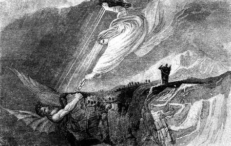 cristianismo: Una ilustración de la Biblia dibujo grabado de la vendimia de Satanás encadenado en el pozo sin fondo, de un libro antiguo de fecha 1836, que ya no está en el derecho de autor