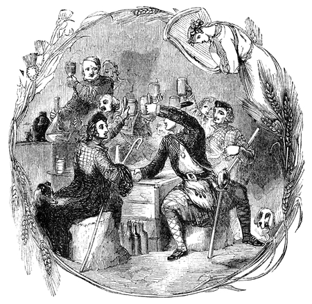 period costume: An engraved vintage illustration drawing of  the celebration of Auld Lang Syne at the New Year eve, from a Victorian book dated 1854 that is no longer in copyright