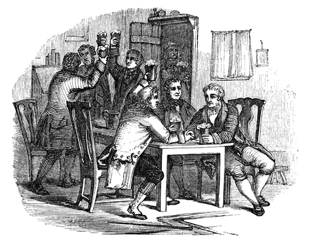An engraved vintage illustration drawing of  the celebration of Auld Lang Syne at the New Year eve, from a Victorian book dated 1854 that is no longer in copyright