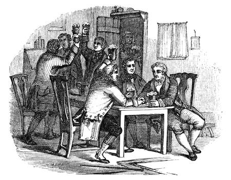 vestidos de epoca: Una ilustraci�n dibujo del vintage grabado de la celebraci�n de Auld Lang Syne en la v�spera de A�o Nuevo, de un libro de estilo victoriano de fecha 1854, que ya no est� en el derecho de autor