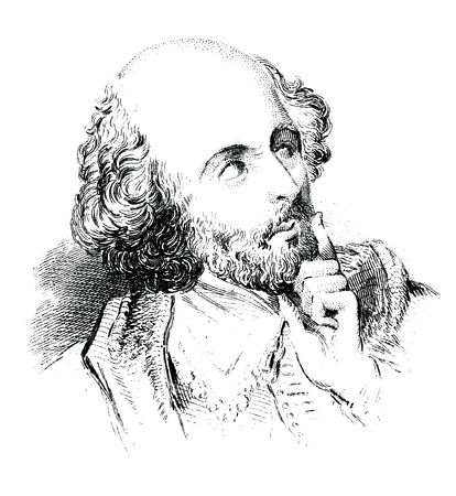 globe theatre: An engraved vintage illustration image portrait of the Elizabethan playwright William Shakespeare, from a Victorian book dated 1856 that is no longer in copyright Editorial