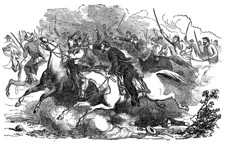 Een gegraveerde illustratie van een Unie cavalerielast de richting van de Verbonden Leger tijdens de Amerikaanse Burgeroorlog, van een Victoriaanse boek gedateerd 1880 vintage die niet meer in het auteursrecht