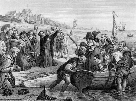 An engraved illustration of the Pilgrim Fathers leaving England, from a Victorian book dated 1886 that is no longer in copyright Stock Photo