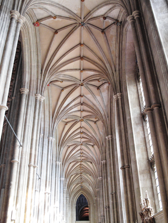 vaulted ceiling: The vaulted ceiling of Canterbury Cathedral in Canterbury Kent, England, UK, which was founded by St Augustine in AD602 and is the cathedral of the Archbishop of Canterbury, the head of the Church Of England