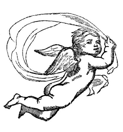 parejas romanticas: Una imagen grabada ejemplo del vintage de un �ngel querub�n, de un libro de estilo victoriano de fecha 1856, que ya no est� en el derecho de autor Foto de archivo