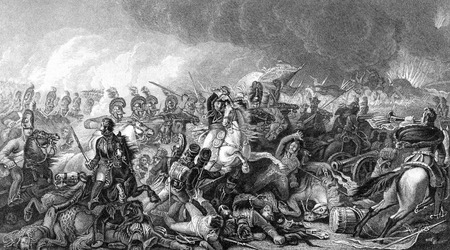 An engraved vintage illustration image of the Duke of Wellington with his army at the Battle of Waterloo, from a Victorian book dated 1886 that is no longer in copyright Stock Photo