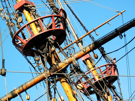 drakes: The Golden Hinde is docked at the side of the River Thames, London, England, UK. It is a full sized exact replica of Sir Francis Drakes 16th Century warship which he use to circumnavigate the world along with a little piracy on the way
