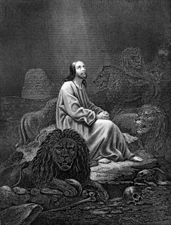 animal den: An engraved vintage illustration image of Daniel in the Lions Den of the Old Testament Bible, from a Victorian book dated 1886 that is no longer in copyright