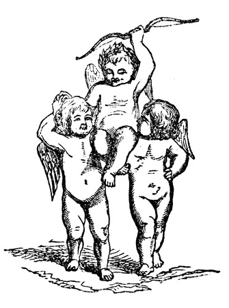 cherubs: An engraved vintage illustration image of the Eros being held up high by angel cherubs, from a Victorian book dated 1856 that is no longer in copyright Stock Photo