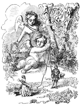 eros: An engraved vintage illustration image of the cherub Eros holding strings to draw lovers together, on St Valentines Day, from a Victorian book dated 1883 that is no longer in copyright