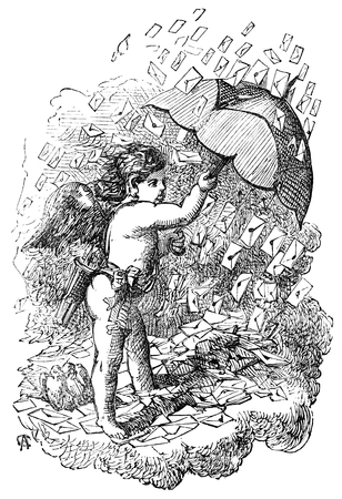 eros: An engraved vintage illustration image of the cherub Eros holding an umbrella, as its raining St Valentines day cards from a Victorian book dated 1883 that is no longer in copyright Stock Photo